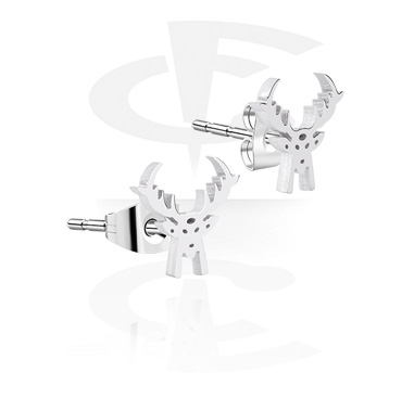 Earrings, Studs & Shields, Ear Studs with Winter Reindeer Design, Surgical Steel 316L