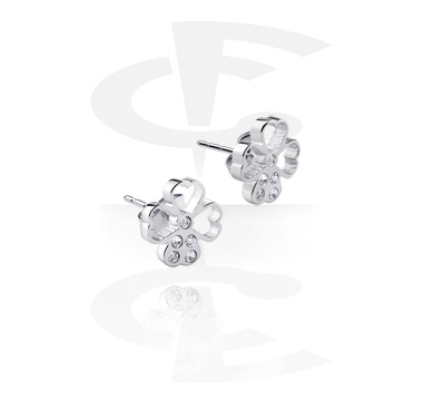Earrings, Studs & Shields, Ear Studs with Clover Leaf Design, Surgical Steel 316L