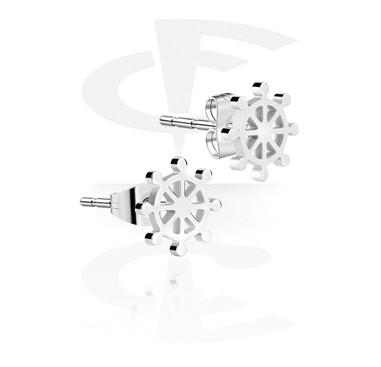 Earrings, Studs & Shields, Ear Studs with Steering Wheel Design, Surgical Steel 316L