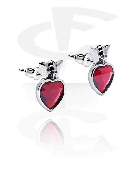 Náušnice, Ear Studs s Heart Design, Chirurgická ocel 316L