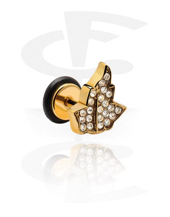 Imitacja biżuterii do piercingu, Fake Plug, Pozłacana stal chirurgiczna 316L