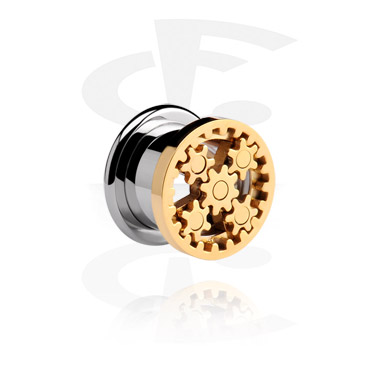 Tunnels & Plugs, Tunnel with Rotating Gears, Surgical Steel 316L