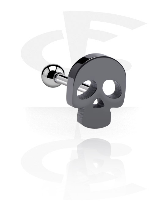 Helix / Tragus, Tragus Piercing with Skull Design, Surgical Steel 316L