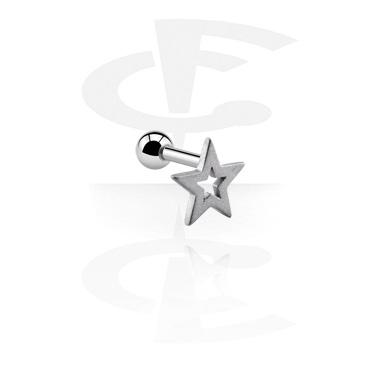 Helix / Tragus, Piercing para el tragus con Diseño estrella, Acero quirúrgico 316L