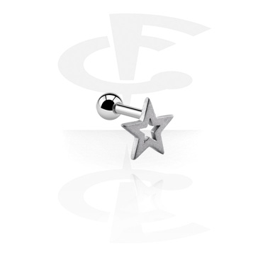 Helix / Tragus, Tragus Piercing with star design, Surgical Steel 316L