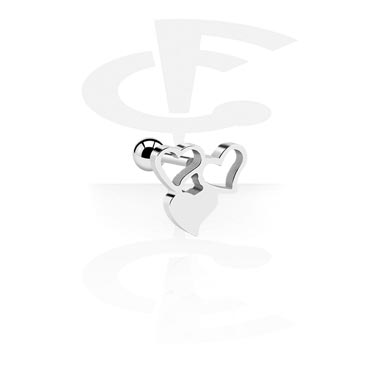 Helix / Tragus, Traguspiercing med hjärtdesign, Kirurgiskt stål 316L
