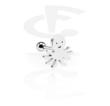 Helix / Tragus, Tragus Piercing with Octopus Design, Surgical Steel 316L