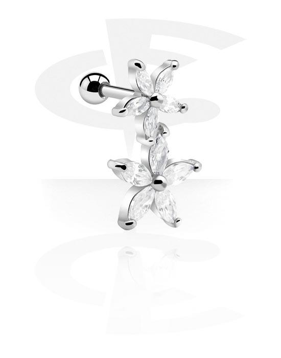 Helix / Tragus, Tragus piercing con accessorio fiore, Acciaio chirurgico 316L