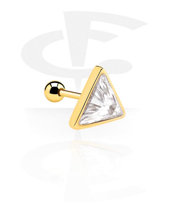 Helix / Tragus, Tragus piercing, Acciaio chirurgico 316L con placcatura in oro