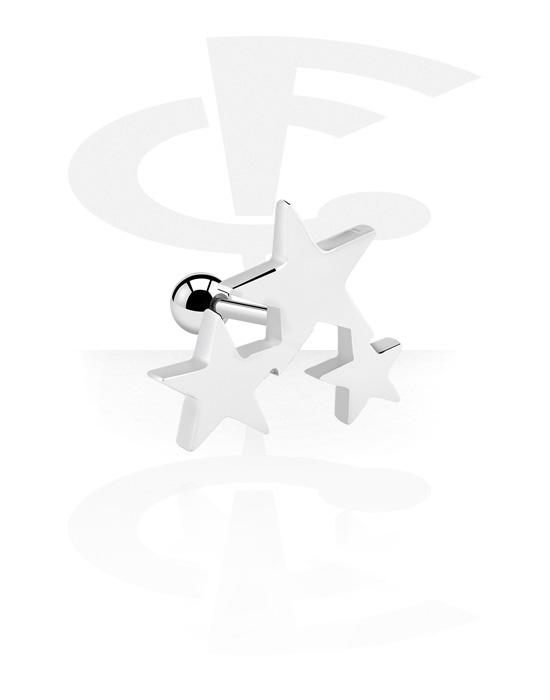 Helix / Tragus, Tragus piercing con accessorio con stella, Acciaio chirurgico 316L