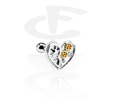 Helix / Tragus, Tragus Piercing with heart attachment, Surgical Steel 316L