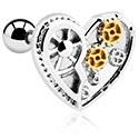 Helix / Tragus, Tragus Piercing s heart attachment, Surgical Steel 316L