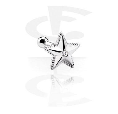 Helix / Tragus, Piercing para el tragus con Accesorio estrella, Acero quirúrgico 316L