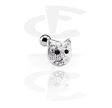 Helix / Tragus, Tragus Piercing with cat attachment, Surgical Steel 316L