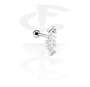 Helix / Tragus, Tragus Piercing with fish bone attachment, Surgical Steel 316L