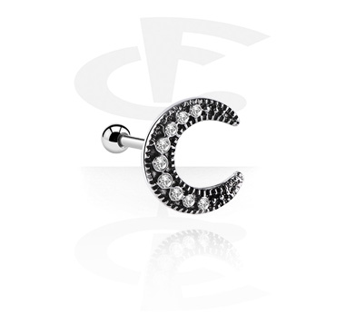 Helix / Tragus, Tragus Piercing with moon attachment, Surgical Steel 316L