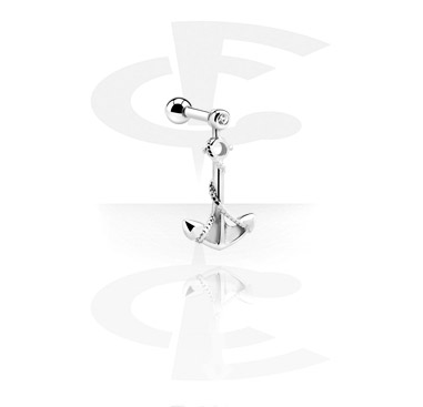 Helix / Tragus, Tragus Piercing with anchor pendant, Surgical Steel 316L