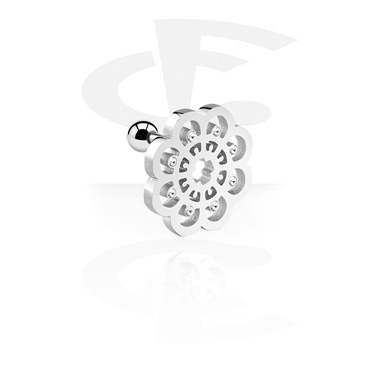 Helix / Tragus, Tragus Piercing with Mandala-Design, Surgical Steel 316L