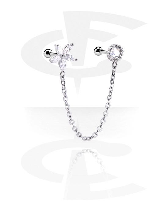 Helix / Tragus, Tragus Piercing s chain a crystal stones, Chirurgická ocel 316L