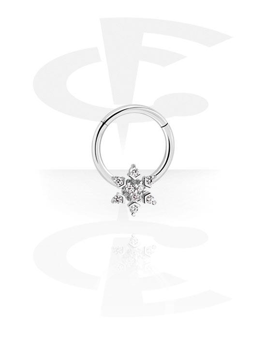 Renkaat, Monikäyttönipistin kanssa snowflake ja crystal stones, Kirurginteräs 316L