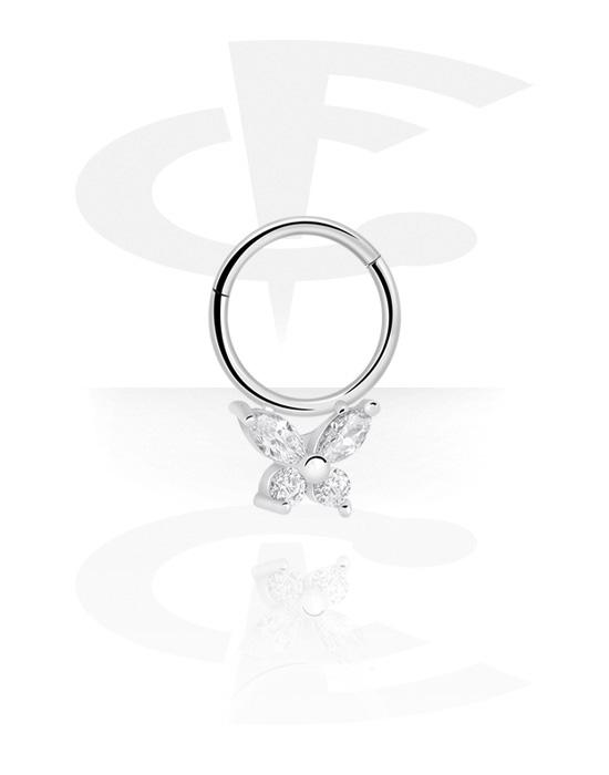 Piercingové kroužky, Víceúčelový clicker s butterfly a crystal stones, Chirurgická ocel 316L