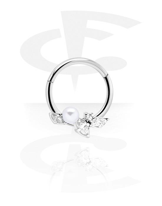 Renkaat, Monikäyttönipistin kanssa Pearl ja crystal stones, Kirurginteräs 316L