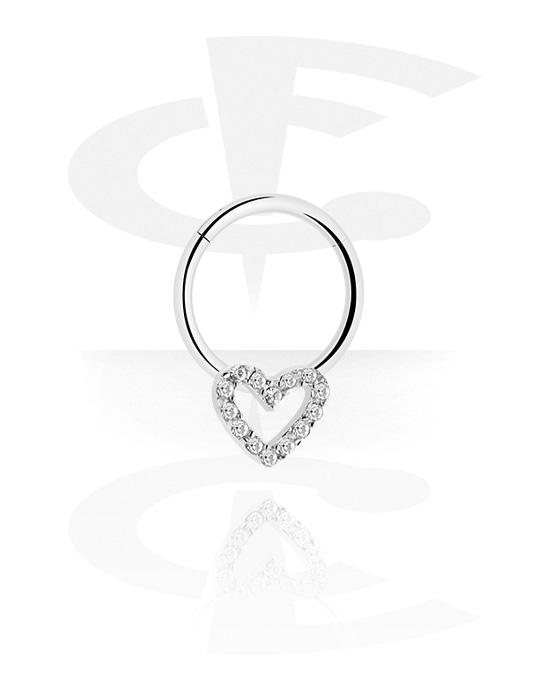 Renkaat, Monikäyttönipistin kanssa Heart ja crystal stones, Kirurginteräs 316L