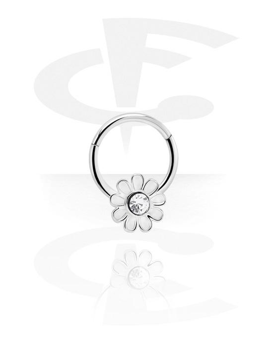 Piercingringen, Multifunctionele clicker met Flower en kristalsteentje, Chirurgisch staal 316L