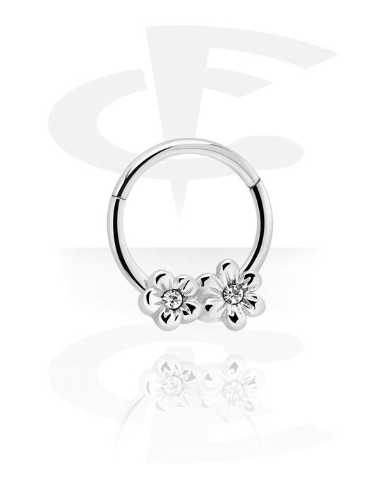 Renkaat, Monikäyttönipistin kanssa Flowers ja crystal stones, Kirurginteräs 316L