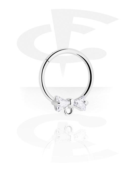 Piercing ad anello, Clicker multiuso con fiocco e brillantino, Acciaio chirurgico 316L