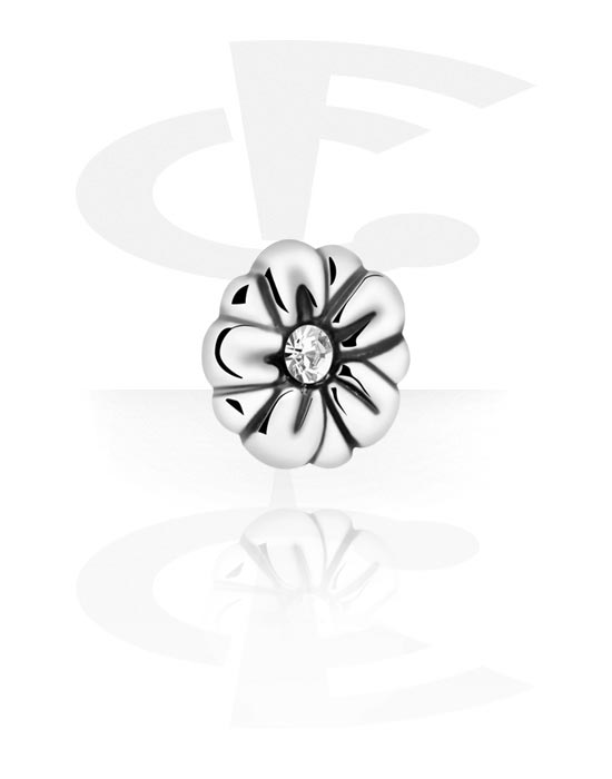 Kulki, igły i nie tylko, Jeweled Steel Cast Atttachment for Internally Threaded Pins, Surgical Steel 316L