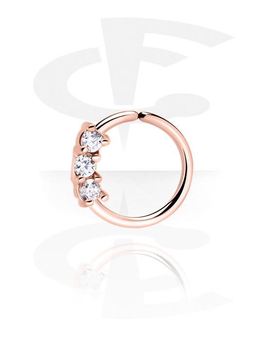 Piercingové kroužky, Continuous ring, Chirurgická ocel 316L pozlacená růžovým zlatem