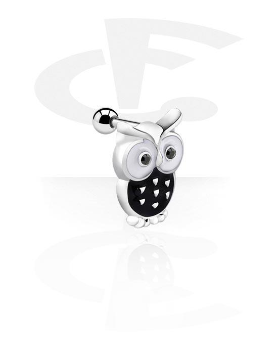 Helix / Tragus, Tragus Piercing kanssa Owl Design, Kirurginteräs 316L