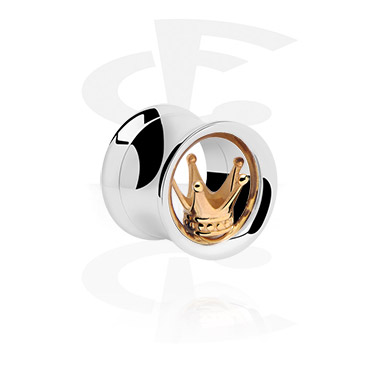 Tunnels & Plugs, Double Flared Tunnel, Surgical Steel 316L, Gold Plated