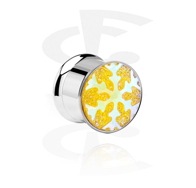 Tunnels & Plugs, Double Flared Tunnel with Snowflake Design, Surgical Steel 316L