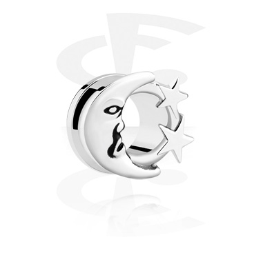 Tunnels & Plugs, Tunnel with Moon Design, Surgical Steel 316L