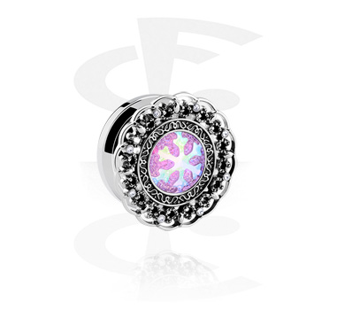 Tunnels & Plugs, Tunnel with Snowflake Design, Surgical Steel 316L