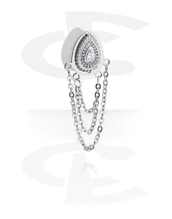 Tunneler & plugger, Tear-Shaped Double Flared Tunnel med chain og crystal stones, Surgical Steel 316L