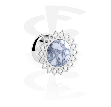 Tunnels & Plugs, Tunnel with colored Design, Surgical Steel 316L