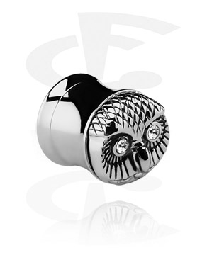 Tunely & plugy, Double flared tunnel with owl face, Surgical Steel 316L