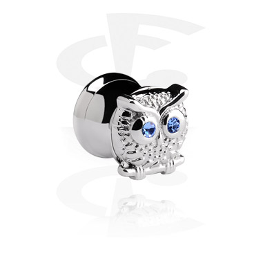 Tunely & plugy, Double flared Plug with owl, Surgical Steel 316L