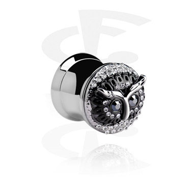 Tunely & plugy, Double flared Plug with owl face, Surgical Steel 316L