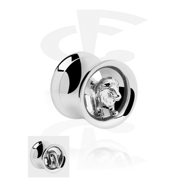 Double Flared Tube with 3D Lion<br/>[Surgical Steel 316L]