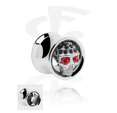 Double Flared Tube with jeweled Skull<br/>[Surgical Steel 316L]