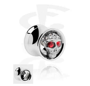 Tunnels & Plugs, Double Flared Tube met versierde schedel, Chirurgisch staal 316L
