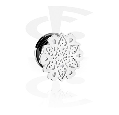 Tunnels & Plugs, Tunnel with Mandala-Design, Surgical Steel 316L