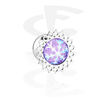 Tunnels & Plugs, Single Flared Tunnel with Winter Snowflake Design, Surgical Steel 316L