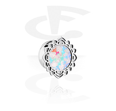 Tunnels & Plugs, Single Flared Plug with Snowflake Design, Surgical Steel 316L