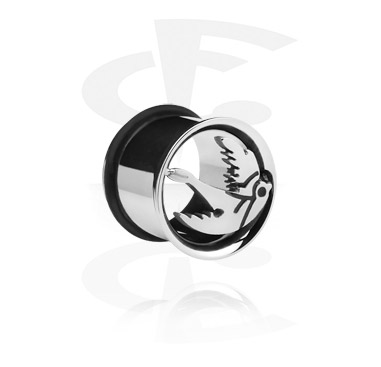Tunnels & Plugs, Single Flared Tunnel with cute bird, Surgical Steel 316L