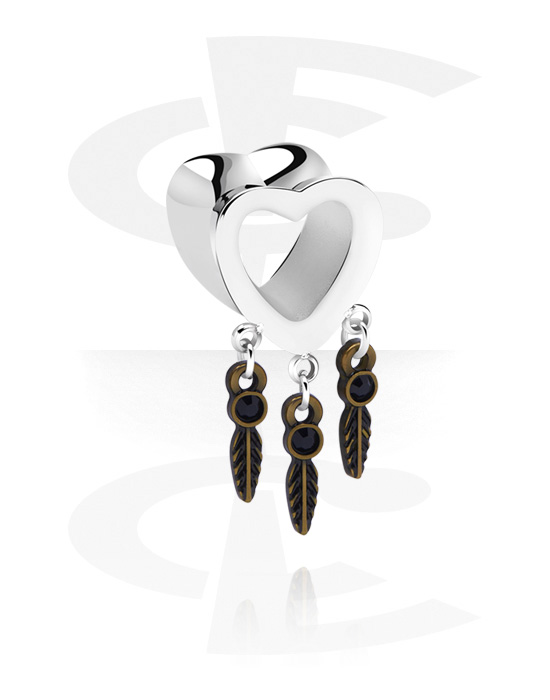 Tunnels & Plugs, Heart-Shaped Flared Tunnel with Charm, Surgical Steel 316L